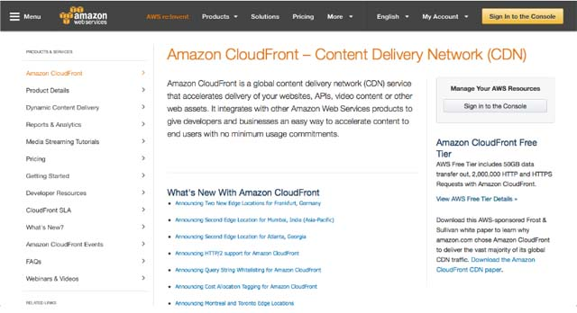Pàgina inicial d'Amazon CloudFront