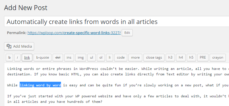 WordPress-linkit