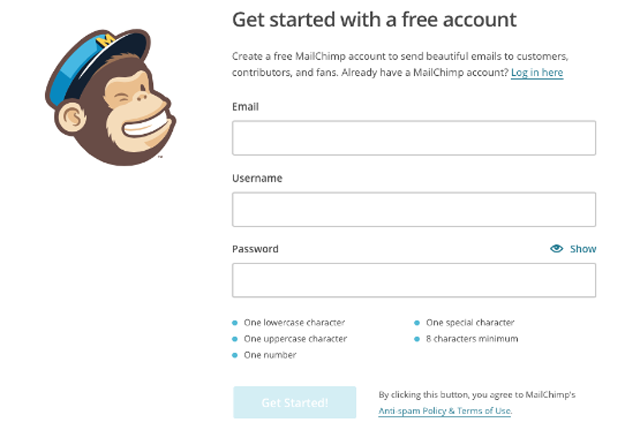 Inscription à MailChimp