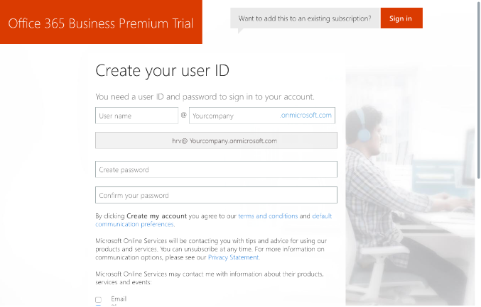 Office 365 Registrarse